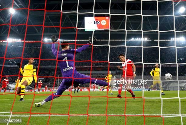 Takashi Usami of Fortuna Duesseldorf misses a chance during the Bundesliga match between Fortuna Duesseldorf and Borussia Dortmund at EspritArena on...