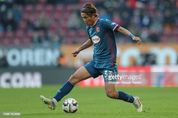 Takashi Usami of Fortuna Duesseldorf plays the ball during the Bundesliga match between FC Augsburg and Fortuna Duesseldorf at WWKArena on January 19...