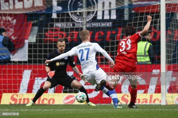 Takashi Usami of Fortuna Duesseldorf scores his teams second goal to make it 02 during the Second Bundesliga match between MSV Duisburg and Fortuna...