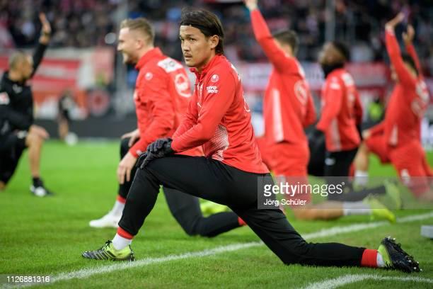 Takashi Usami of Fortuna Duesseldorf warming up prior the Bundesliga match between Fortuna Duesseldorf and 1 FC Nuernberg at the Merkur SpielArena on...