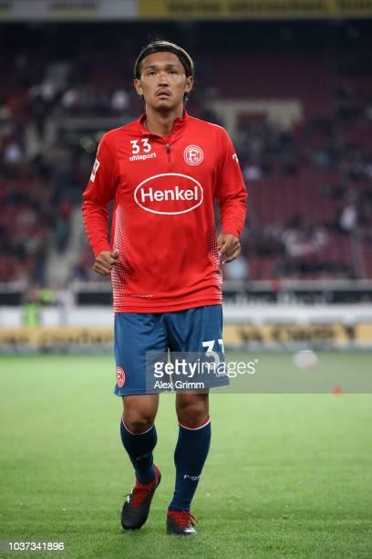 Takashi Usami of Fortuna Duesseldorf warms up prior to the Bundesliga match between VfB Stuttgart and Fortuna Duesseldorf at MercedesBenz Arena on...