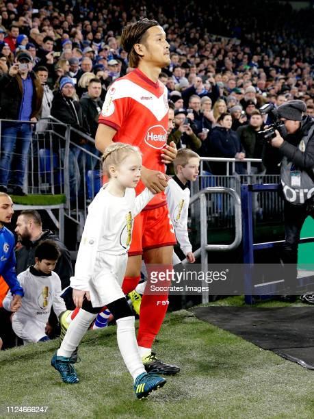 Takashi Usami of Fortuna Dusseldorf during the German DFB Pokal match between Schalke 04 v Fortuna Dusseldorf at the Veltins Arena on February 6 2019...
