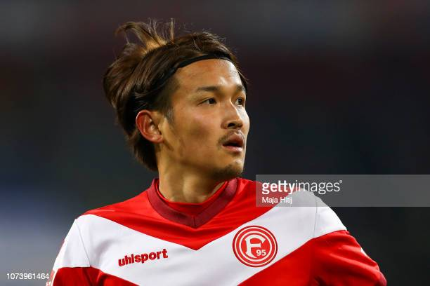 Takashi Usami of Fortuna Dusseldorf looks on during the Bundesliga match between Fortuna Duesseldorf and Sport-Club Freiburg at Esprit-Arena on...