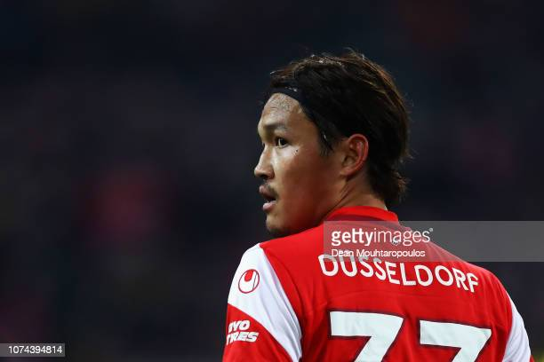 Takashi Usami of Fortuna Dusseldorf looks on during the Bundesliga match between Fortuna Duesseldorf and Borussia Dortmund at Esprit-Arena on...