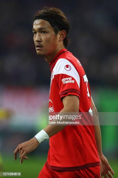 Takashi Usami of Fortuna Dusseldorf looks on during the Bundesliga match between Fortuna Duesseldorf and Borussia Dortmund at EspritArena on December...