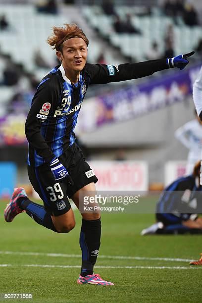 Takashi Usami of Gamba Osaka celebrates 2nd goal during The 95th Emperor's Cup SemiFinal Gamba Osaka v Sanfrecce Hiroshima at Nagai Stadium on...