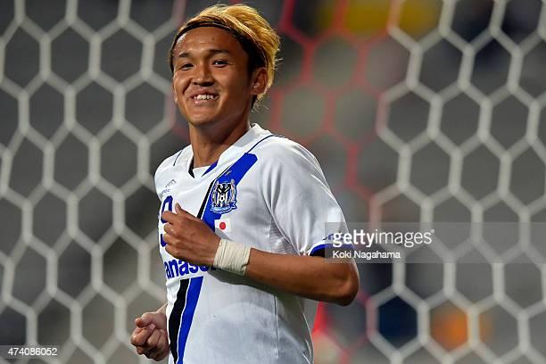 Takashi Usami of Gamba Osaka celebrates the first goal during the AFC Champions League Round of 16 match between FC Seoul and Gamba Osaka at Seoul...