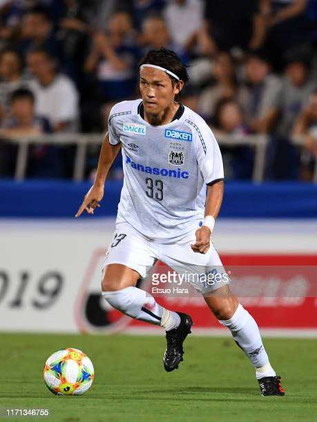 Takashi Usami of Gamba Osaka in action during the J.League J1 match between Yokohama F.Marinos and Gamba Osaka at Nippatsu Mitsuzawa Stadium on...