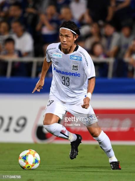 Takashi Usami of Gamba Osaka in action during the JLeague J1 match between Yokohama FMarinos and Gamba Osaka at Nippatsu Mitsuzawa Stadium on August...