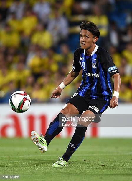 Takashi Usami of Gamba Osaka in action during the JLeague match between Kashiwa Reysol and Gamba Osaka at Hitachi Kashiwa Soccer Stadium on June 23...