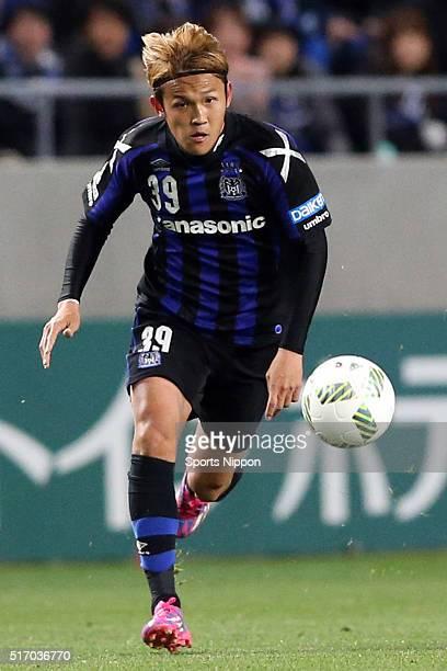 Takashi Usami of Gamba Osaka in action during the Jleague match between Gamba Osaka and Omiya Ardija at the Suita City Football Stadium on March 11...