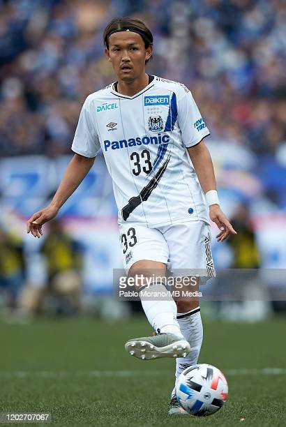 Takashi Usami of Gamba Osaka in action during the J.League MEIJI YASUDA J1 match between Yokohama F.Marinos and Gamba Osaka at Nissan Stadium on...