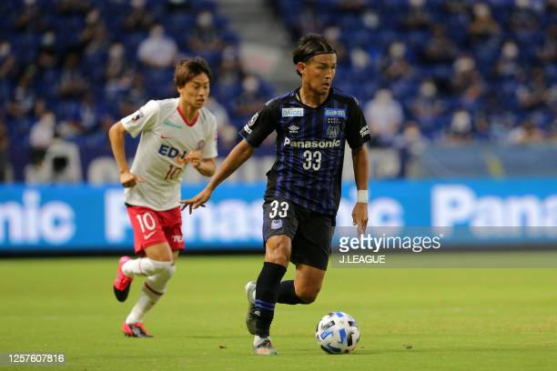 Takashi Usami of Gamba Osaka in action during the J.League Meiji Yasuda J1 match between Gamba Osaka and Sanfrecce Hiroshima at Panasonic Stadium...