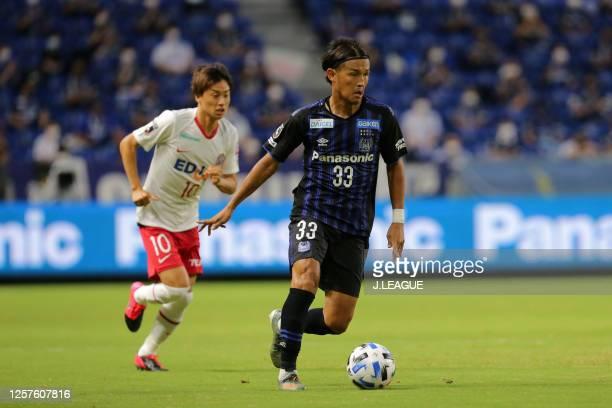Takashi Usami of Gamba Osaka in action during the J.League Meiji Yasuda J1 match between Gamba Osaka and Sanfrecce Hiroshima at Panasonic Stadium...