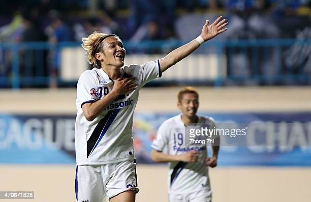 Takashi Usami of Gmaba Osaka celebrates his goal during the AFC Asian Champions League Group F match between Guangzhou R&F and Gamba Osaka at Yuexiu...