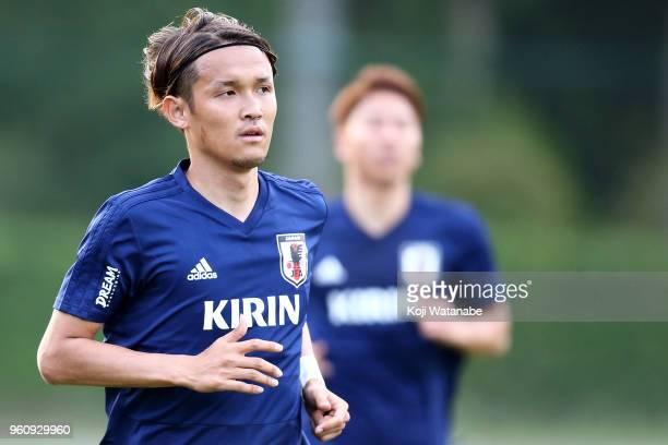 Takashi Usami of Japan in action during a Japan training session at Akitsu Football Field on May 21 2018 in Narashino Chiba Japan