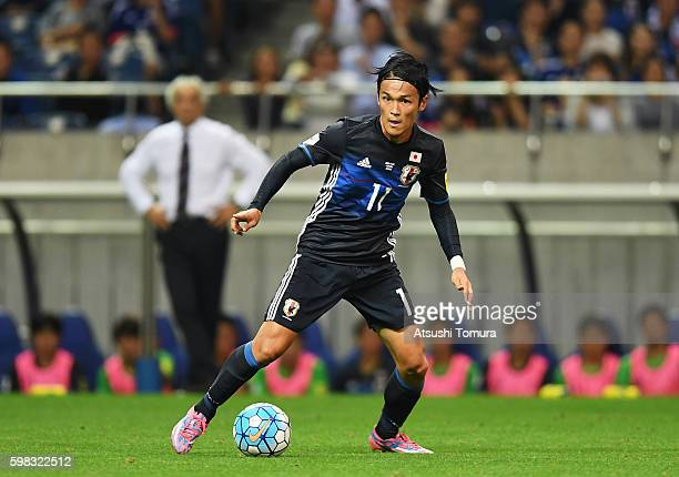 Takashi Usami of Japan in action during the 2018 FIFA World Cup Qualifier Final Round Group B match between Japan and United Arab Emirates at Saitama...