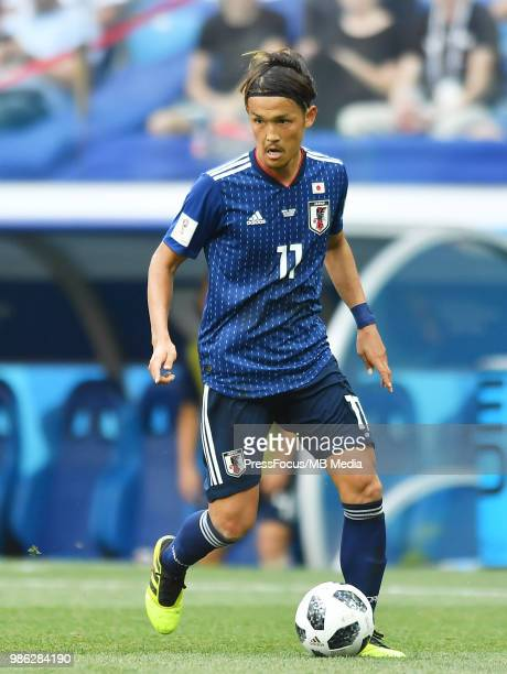 Takashi Usami of Japan in action during the 2018 FIFA World Cup Russia group H match between Japan and Poland at Volgograd Arena on June 28, 2018 in...