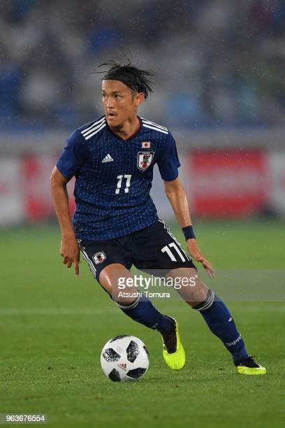 Takashi Usami of Japan in action during the international friendly match between Japan and Ghana at Nissan Stadium on May 30 2018 in Yokohama...