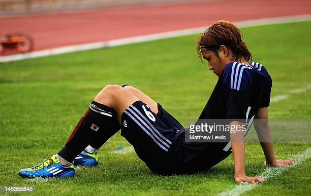 Takashi Usami of Japan looks on after his team lost to Egypt during the Toulon Tournament Group A match between Japan and Egypt at Le Grand Stade on...