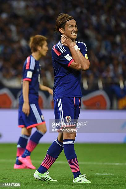 Takashi Usami of Japan misses the chance [action] during the 2018 FIFA World Cup Qualifier Round 2 Group E at Saitama Stadium on September 3 2015 in...