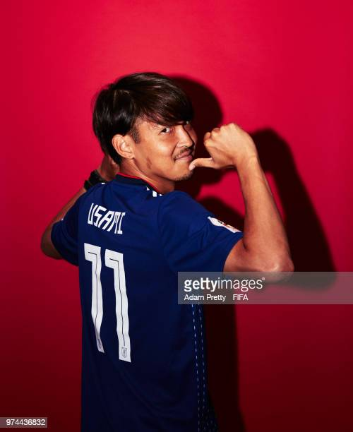 Takashi Usami of Japan poses for a portrait during the official FIFA World Cup 2018 portrait session at the FC Rubin Training Grounds on June 14,...
