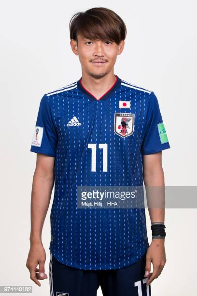 Takashi Usami of Japan poses for a portrait during the official FIFA World Cup 2018 portrait session at the FC Rubin Training Grounds on June 14 2018...