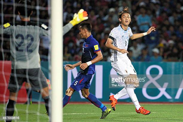 Takashi Usami of Japan recats during the 2018 FIFA World Cup Qualifier match between Cambodia and Japan at the National Olympic Stadium on November...