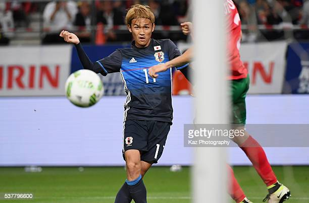 Takashi Usami of Japan scores his team's sixth goal during the international friendly match between Japan and Bulgaria at the Toyota Stadium on June...