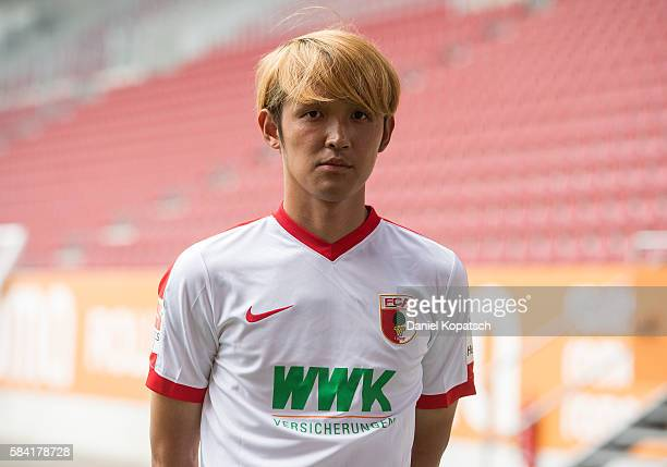 Takashi Usami poses during the Team Presentation of FC Augsburg on July 28 2016 in Augsburg Germany