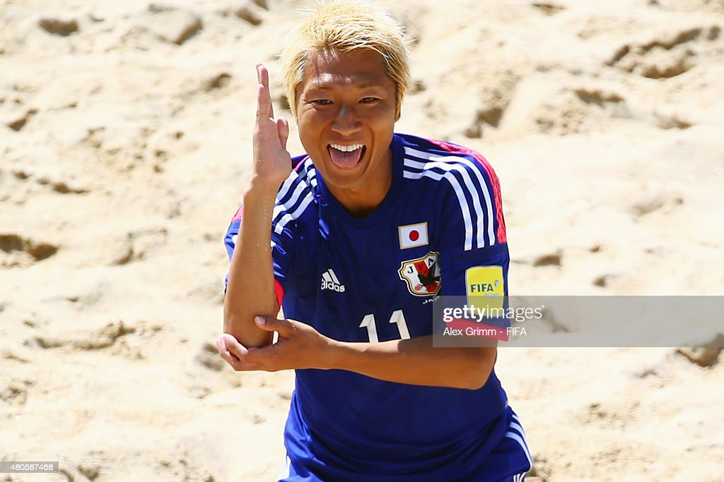 Takasuke Goto of Japan celebrates his team's first goal during the FIFA Beach Soccer World Cup Portugal 2015 Group A match beween Japan and Senegal at Espinho Stadium on July 13, 2015 in Espinho, Portugal.