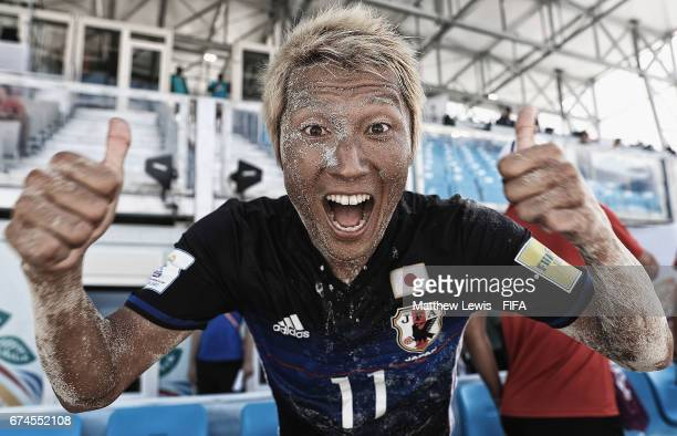 Takasuke Goto of Japan celebrates his teams win over Poland after the FIFA Beach Soccer World Cup Bahamas 2017 group D match between Japan and Poland...