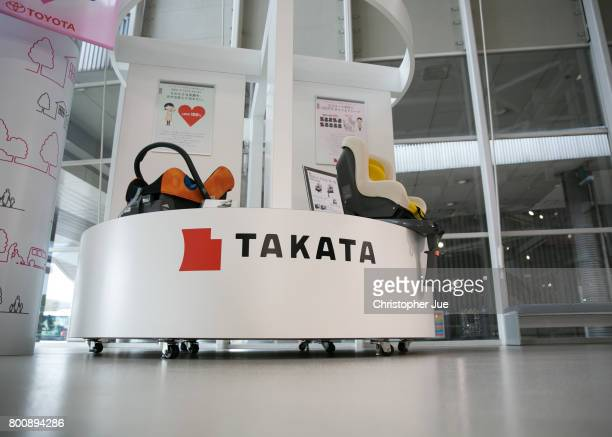 Takata Corp logo is seen on a display of child safety seats at a car showroom on June 26 2017 in Tokyo Japan Japanese air bag maker Takata Corp has...