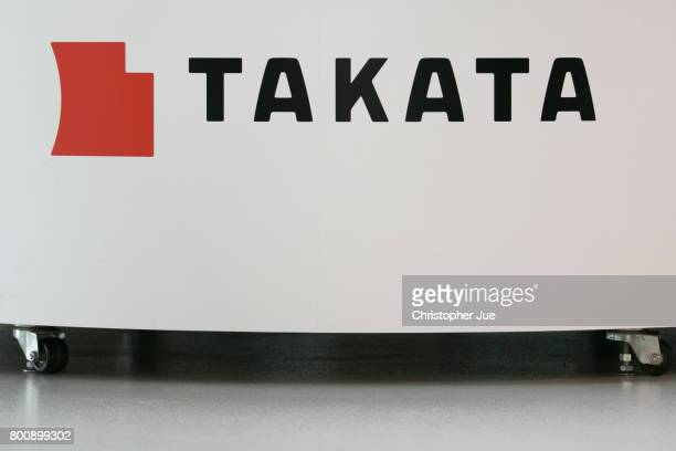 Takata Corp logo is seen on display at a car showroom on June 26 2017 in Tokyo Japan Japanese air bag maker Takata Corp has filed for bankruptcy...