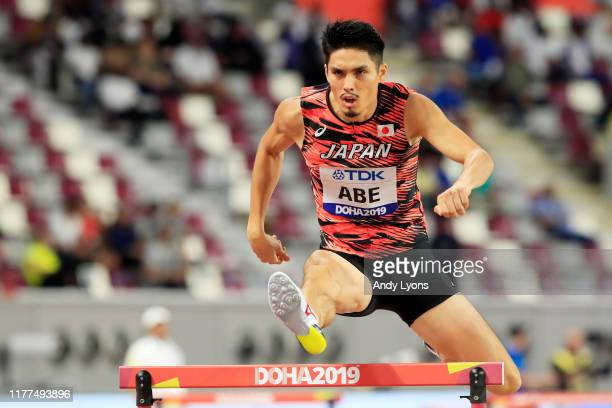 Takatoshi Abe of Japan competes in the Men's 400 metres hurdles heats during day one of 17th IAAF World Athletics Championships Doha 2019 at Khalifa...