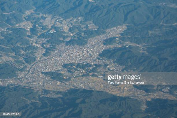 Takayama city in Gifu prefecture in Japan daytime aerial view from airplane