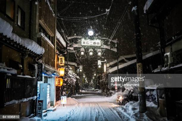 takayama city in the winter night - alley stock pictures, royalty-free photos & images