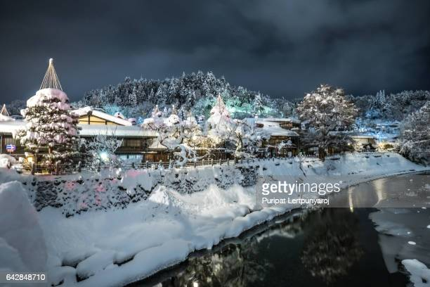 takayama city in the winter night - takayama city stock pictures, royalty-free photos & images
