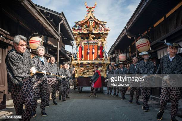 takayama spring festival - takayama city stock pictures, royalty-free photos & images