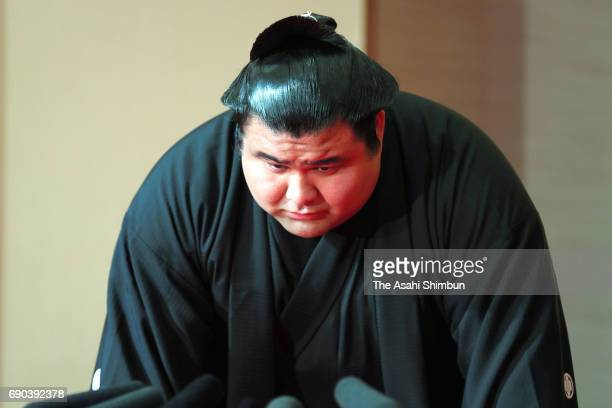 Takayasu accepts his promotion to Ozeki second highest rank in sumo at Tagonoura Stable on May 31 2017 in Tokyo Japan