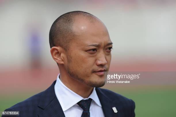 Takayoshi Ishihara coach of Urawa Red Diamonds Ladies looks on prior to the Nadeshiko League match between Urawa Red Diamonds Ladies and Mynavi...