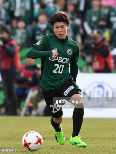 Takayoshi Ishihara of Matsumoto Yamaga in action during the JLeague J2 match between Yokohama FC and Matsumoto Yamaga at Nippatsu Mitsuzawa Stadium...
