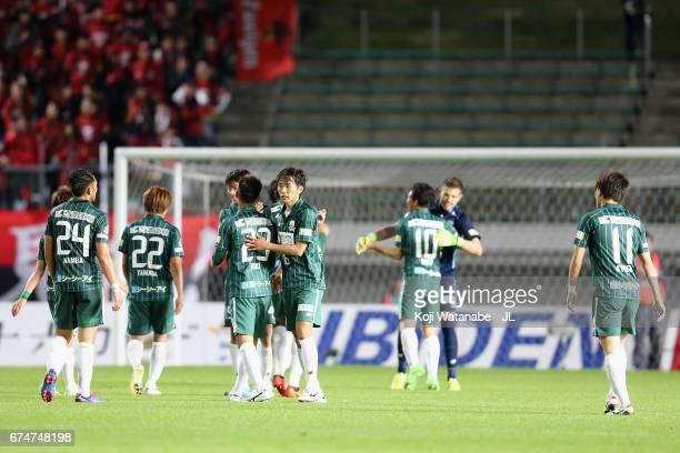 Takayuki Fukumura and FC Gifu players celebrate their 20 victory after the JLeague J2 match between FC Gifu and Zweigen Kanazawa at Nagaragawa...