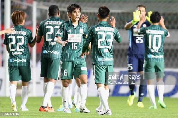 Takayuki Fukumura and Yuto Ono of FC Gifu celebrate their 20 victory after the JLeague J2 match between FC Gifu and Zweigen Kanazawa at Nagaragawa...