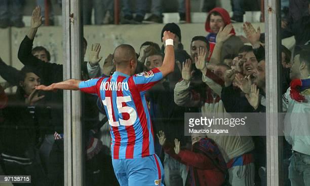 Takayuki Morimot of Catania Calcio celebrates a goal during the Serie A match between Catania and Bari at Stadio Angelo Massimino on February 27,...