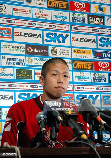 Takayuki Morimoto attends a press conference as he joins Catania on August 27 2009 in Catania Italy