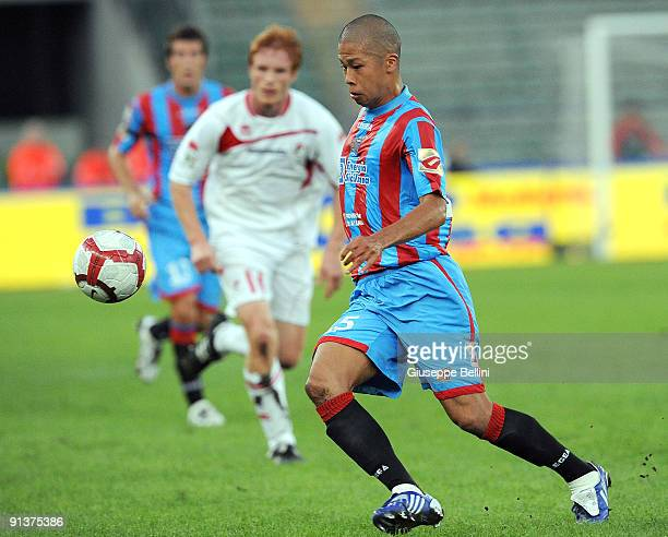 Takayuki Morimoto Catania Calcio in action during the serie A match between AS Bari and Catania Calcio at Stadio San Nicola on October 3, 2009 in...