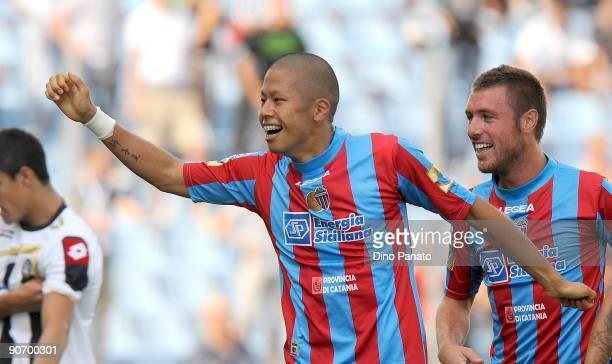 Takayuki Morimoto of Catania Calcio celebrates after scoring their first goal during the Serie A match between Udinese Calacio and Catania Calcio at...