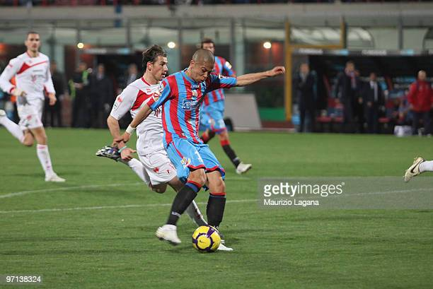 Takayuki Morimoto of Catania Calcio scores a goal during the Serie A match between Catania and Bari at Stadio Angelo Massimino on February 27 2010 in...