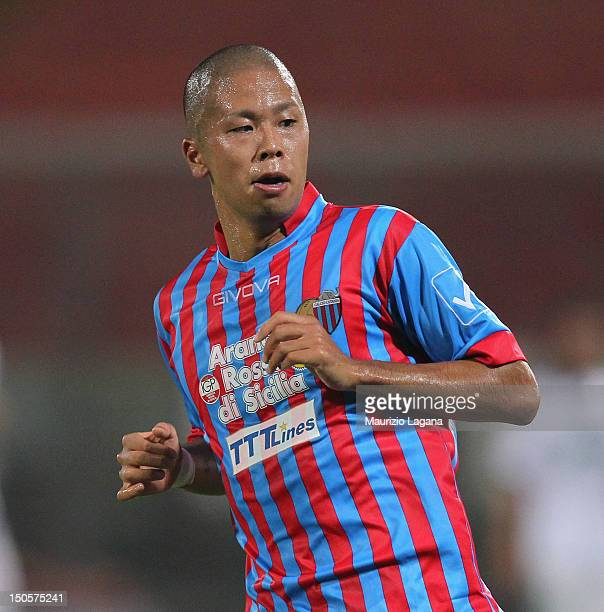 Takayuki Morimoto of Catania during the TIM Cup match between Catania Calcio and US Sassuolo at Stadio Angelo Massimino on August 18, 2012 in...